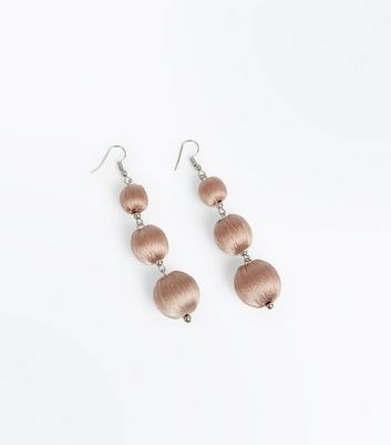 Shell Pink Wrapped Orb Drop Earrings