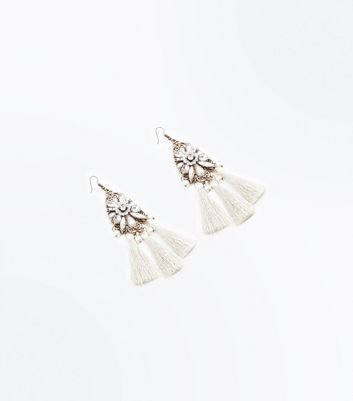 Silver Gem Embellished Tassel Chain Earrings