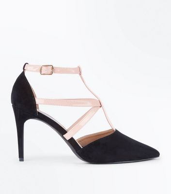 Black and Nude Strappy T-Bar Pointed Courts