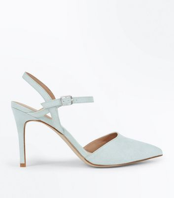 Mint Green Suedette Ankle Strap Pointed Court Shoes