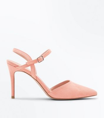 Coral Suedette Ankle Strap Pointed Court Shoes