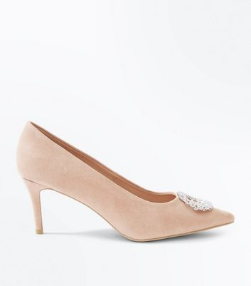 Nude Suedette Brooch Toe Pointed Courts