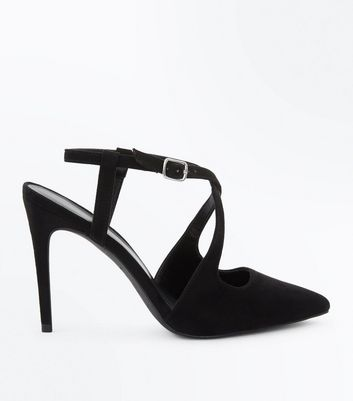 Black Suedette Cross Strap Pointed Heels