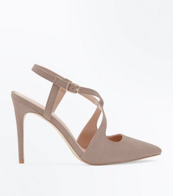 Light Brown Suedette Cross Strap Pointed Heels