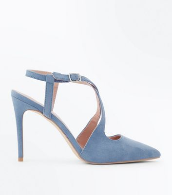 Pale Blue Suedette Cross Strap Pointed Heels by New Look