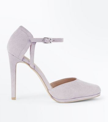 Grey Suedette Ankle Strap Round Toe Courts