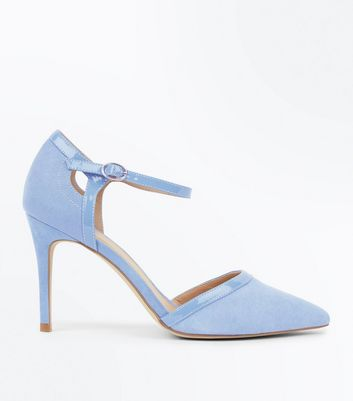 Pale Blue Suedette Patent Trim Pointed Heels