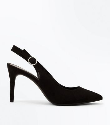 Black Suedette Circle Buckle Sling Back Pointed Heels