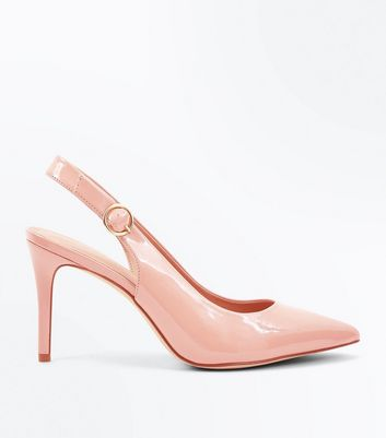 Nude Patent Circle Buckle Slingback Pointed Heels