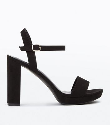Black Suedette Block Heel Platform Sandals