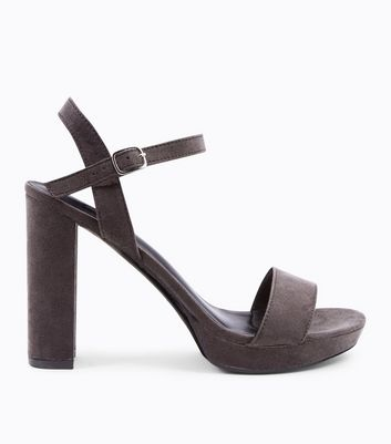 Grey Suedette Block Heel Platform Sandals