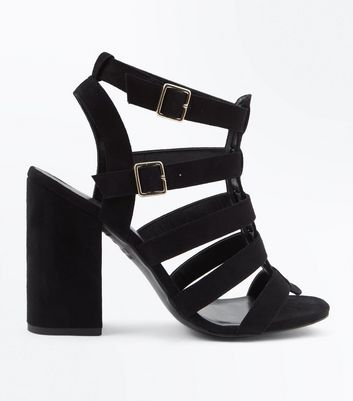 Black Suedette Block Heel Gladiator Sandals