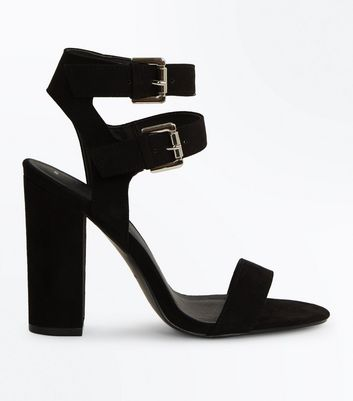 Black Suedette Double Ankle Strap Heeled Sandals