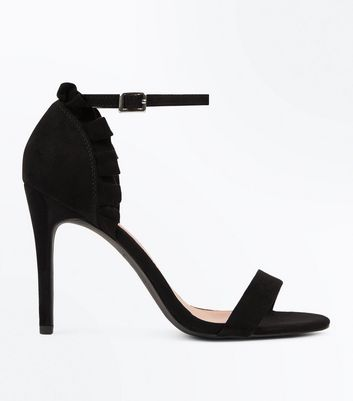 Black Suedette Frill Back Stiletto Heel Sandals