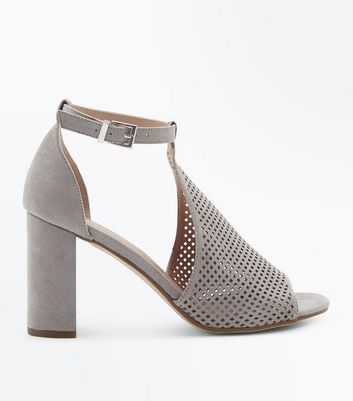 Grey Suedette Perforated Block Heel Sandals