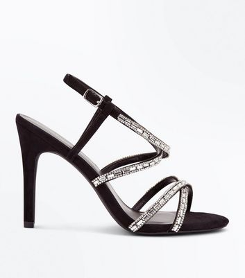 Black Suedette Diamante Studded Strappy Sandals