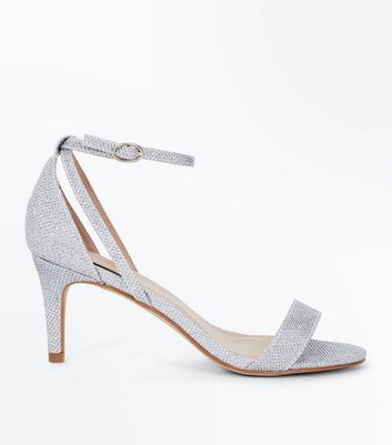 Silver Glitter Cut Out Side Stiletto Sandals