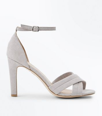 Grey Suedette Padded Cross Strap Heeled Sandals