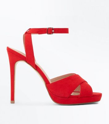 Red Suedette Cross Strap Platform Stiletto Sandals