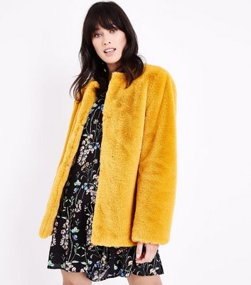 Mustard Yellow Faux Fur Teddy Jacket