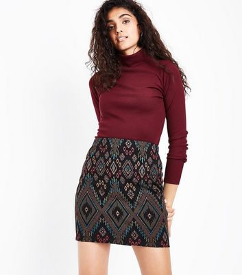 Black Aztec Jersey Tube Skirt