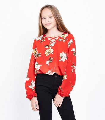 Teens Red Floral Lattice Front Top
