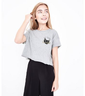 Teens Grey Cat Planet Slogan T-Shirt