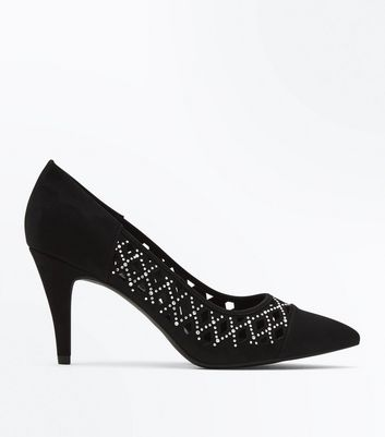 Wide Fit Black Suedette Diamante Lattice Courts