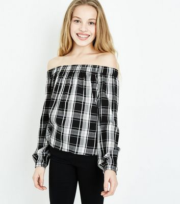 Teens Black Check Print Bardot Neck Top