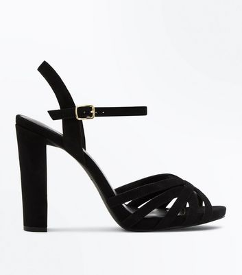 Wide Fit Black Suedette Strappy Block Heel Sandals