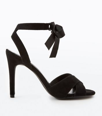 Black Suedette Ankle Tie Cross Strap Stiletto Sandals