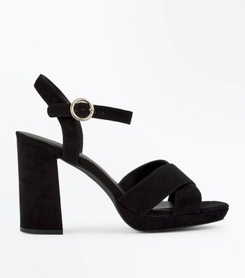 Black Suedette Cross Strap Circle Buckle Heels