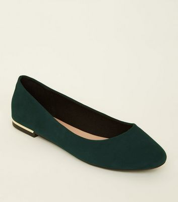 Wide Fit Green Suedette Metal Heel Pumps by New Look