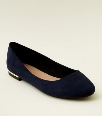 Wide Fit Navy Suedette Metal Heel Pumps by New Look