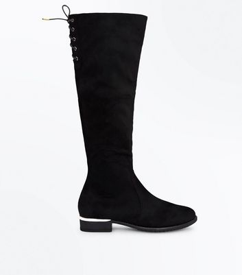 Teens Black Suedette Lace Up Back Over Knee Boots