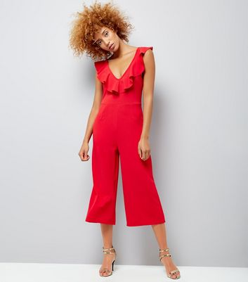 Cameo Rose Red Frill Neck Culotte Jumpsuit