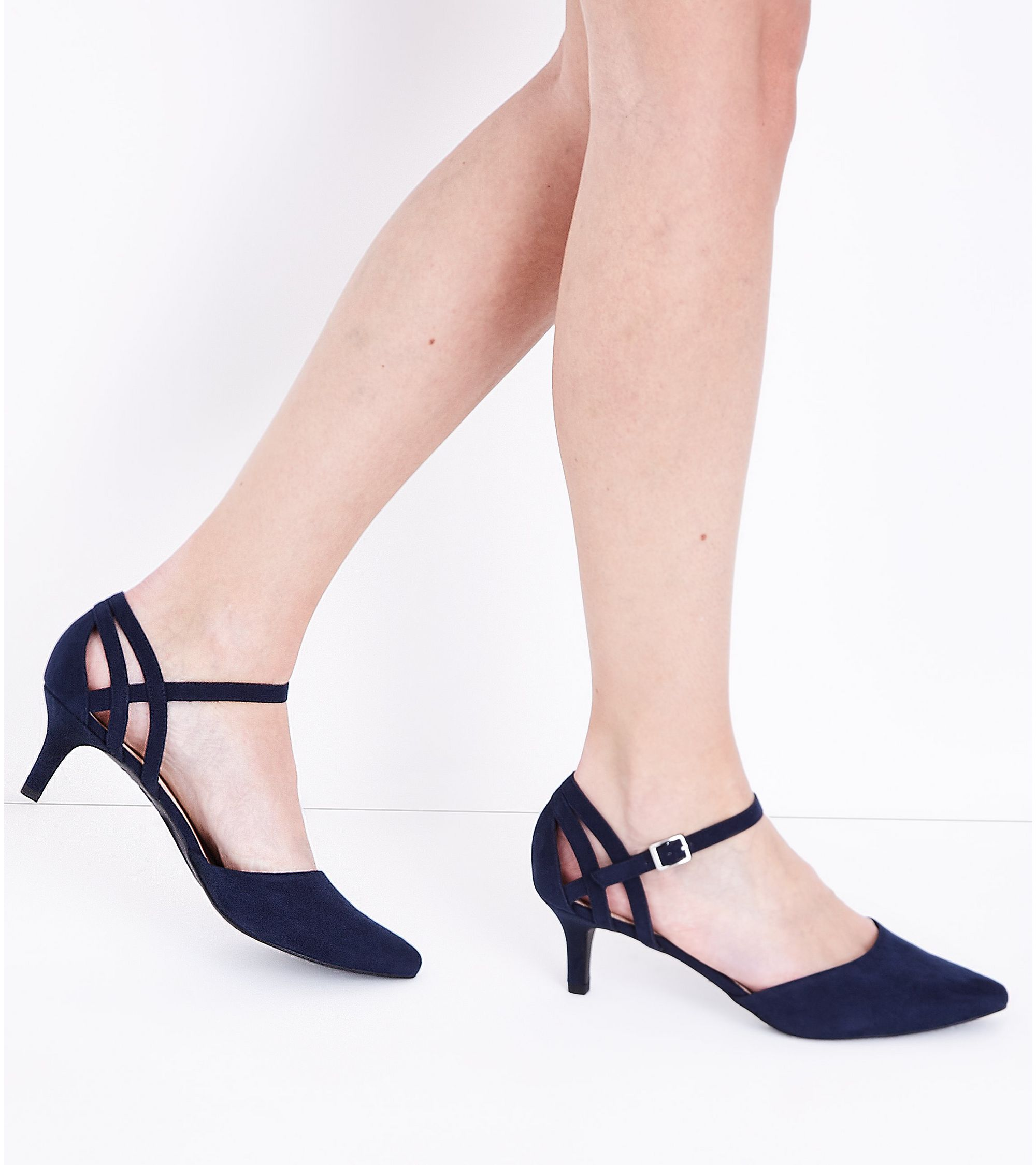 a334009e302 New Look Wide Fit Navy Comfort Flex Suedette Pointed Kitten Heels at ...