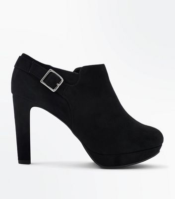 Wide Fit Black Suedette Buckle Side Shoe Boots