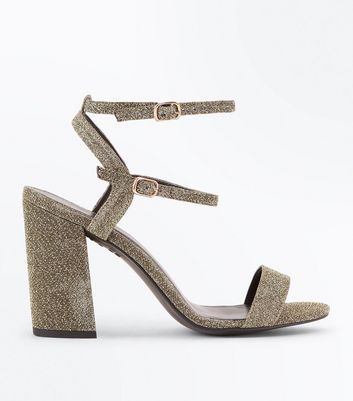 Wide Fit Gold Glitter Double Strap Block Heel Sandals