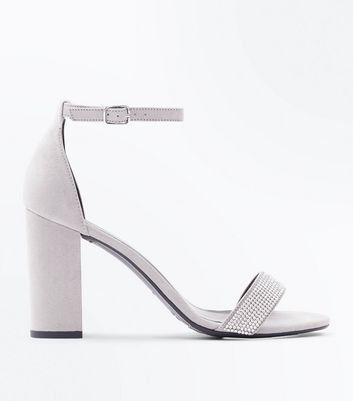 Wide Fit Grey Suedette Embellished Strap Block Heels