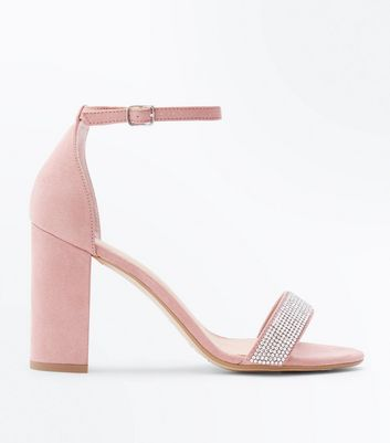 Wide Fit Shell Pink Suedette Diamante Strap Block Heels