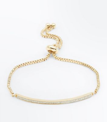 Gold Glitter Bar Toggle Bracelet