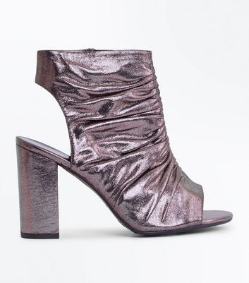 Wide Fit Pewter Metallic Ruched Block Heels
