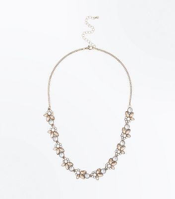 Rose Gold Stone Embellished Necklace