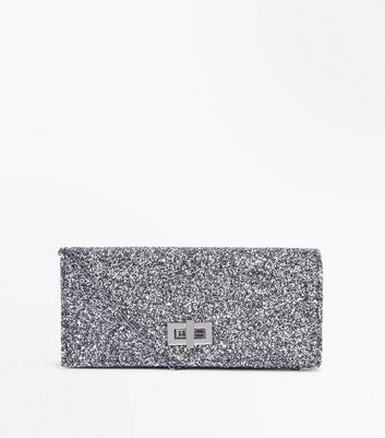 Pewter Glitter Clutch Bag