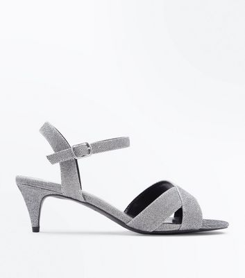 Wide Fit Silver Glitter Cross Strap Kitten Heels