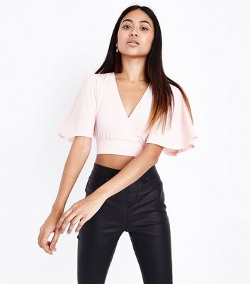 Petite Shell Pink Cape Sleeve Crop Top