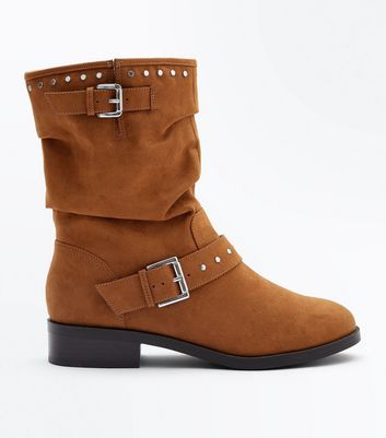 Wide Fit Tan Suedette Stud Trim Calf Boots