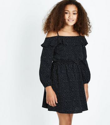 Teens Black Polka Dot Cold Shoulder Dress