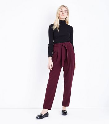 Tall Burgundy Tie Waist Trousers